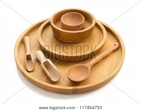 wooden dishes set isolated on white background