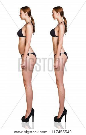 Woman before and after lose weight