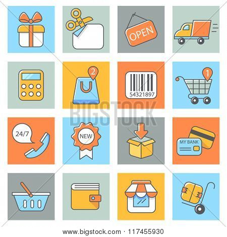 Shopping icons, thin line style, flat design