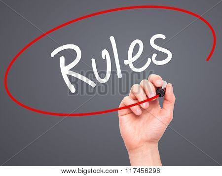 Man Hand Writing Rules With Black Marker On Visual Screen.