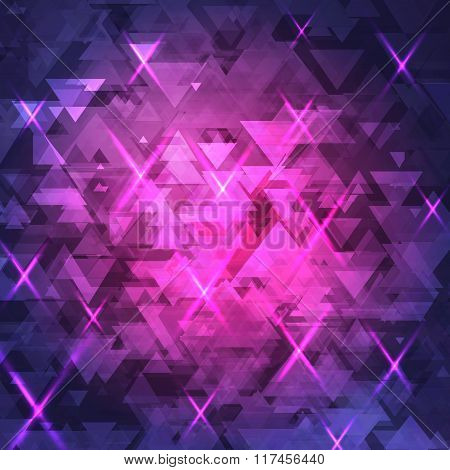 Abstract, technology, futuristic dark background with a pattern of triangles, with the glow. Purple,