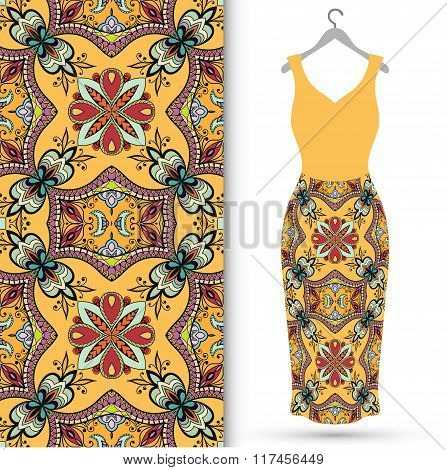 Women's dress on a hanger and seamless geometric pattern