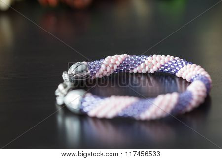 Handmade Crochet Beaded Bracelet From Beads Of Pink And Lilac Color