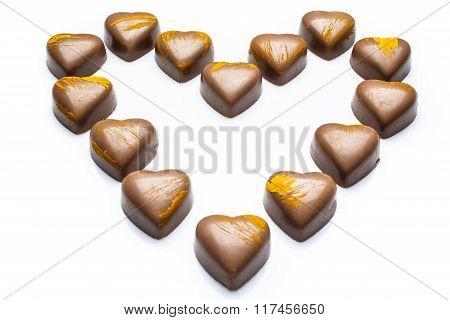 Milk chocolates heart from high angle