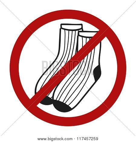 Stop sign. Doodle socks icon for web design. Handdrawn symbol of footwear. Vector llustration