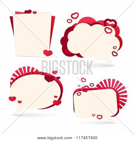 Set design template sticker, tag, banner, badge, for Valentine's Day. Form a bubble with the decor o