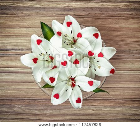 Arrangement Of White Lilies With More Little Red Hearts In The Glass Bowl, Valentine's Day