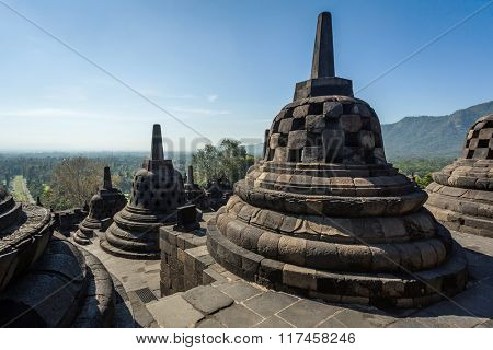 Buddist temple Borobudur complex in Yogjakarta in Java, Indonesia