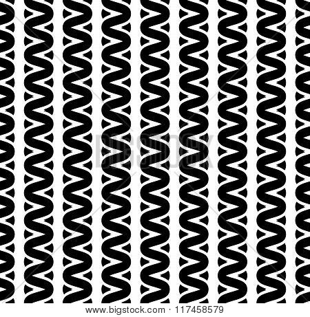 Interweave, Braided Lines Seamless Abstract Monochrome Patter