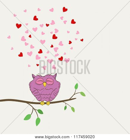 Owl In Love Dreaming With Hearts