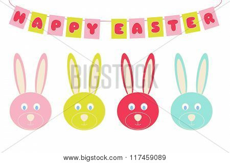Vector Happy Easter Celebration Banner With Colorful  Bunny Symbols Isolated On White
