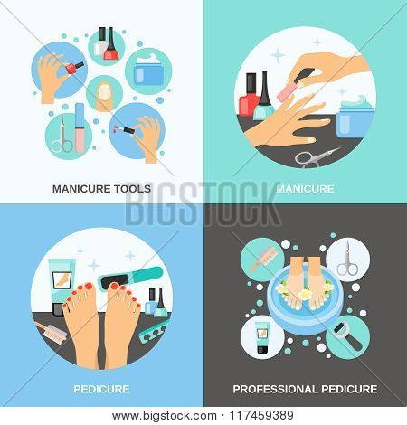 Manicure Pedicure 4 Flat Icons Square