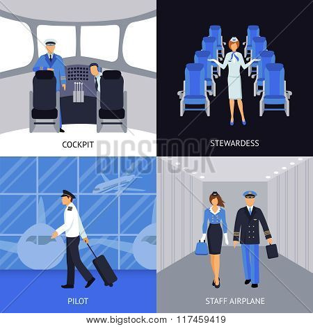 Pilot And Stewardess 4 Flat Icons