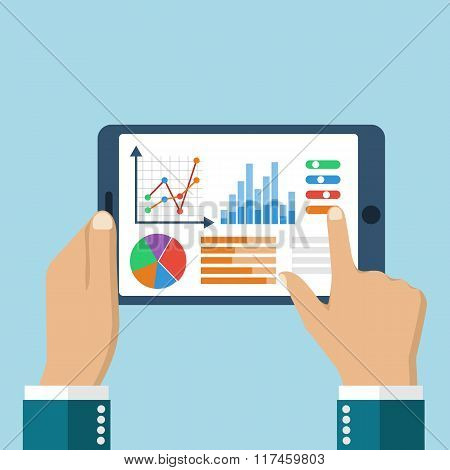 The Tablet In The Hands Of A Businessman With Statistical Data Presented In The Form Of Digital Grap