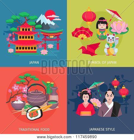 Japanese Symbols 4 Flat Icons Square