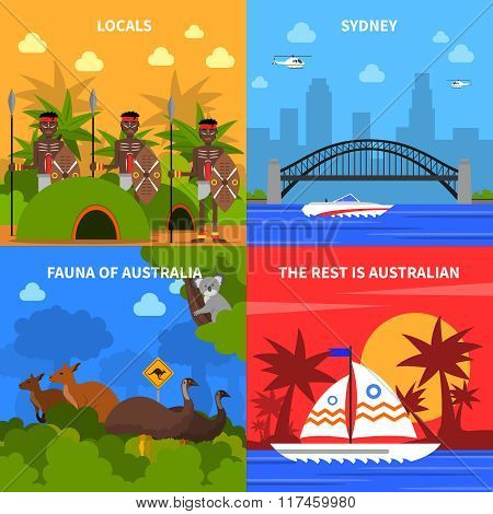 Australia Concept Icons Set