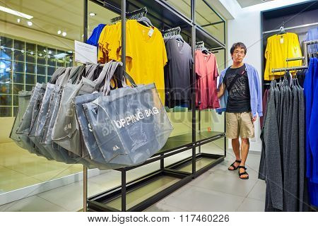 HONG KONG - NOVEMBER 02, 2015: interior of H and M store. H& M is a Swedish multinational retail-clothing company, known for its fast-fashion clothing for men, women, teenagers and children.