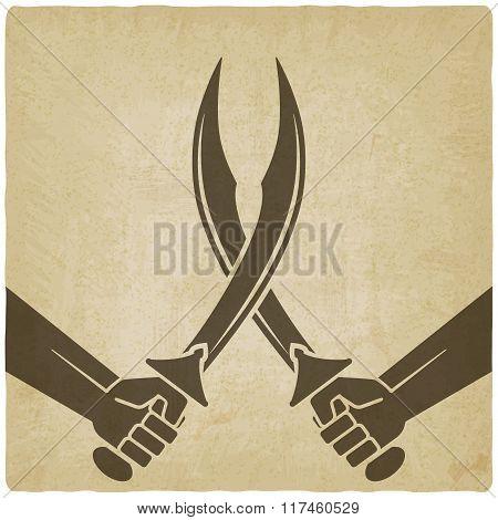 crossed arabian sabers old background