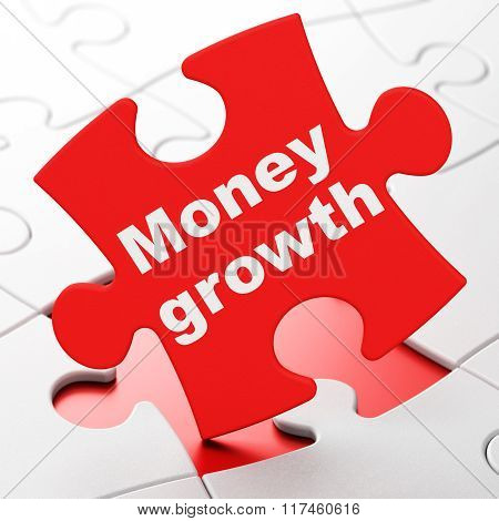 Banking concept: Money Growth on puzzle background