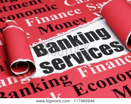 Banking concept: black text Banking Services under the piece of  torn paper