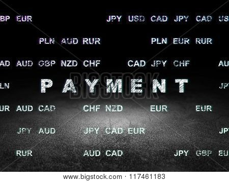 Money concept: Payment in grunge dark room