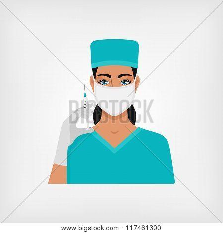 nurse with syringe in medical mask and gloves