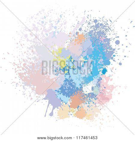 Pastel background of paint splashes
