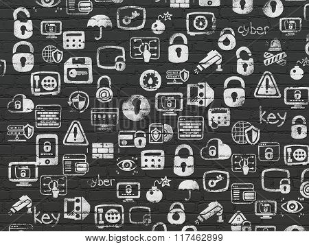 Grunge background: Black Brick wall texture with Painted Hand Drawn Security Icons
