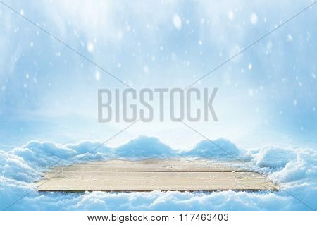 Background with snow-covered table