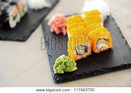 Food. Delicious sushi on the table
