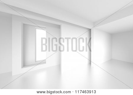 3d Abstract Interior Design. White Room Background