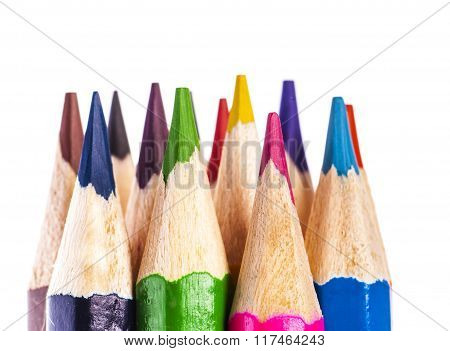 coloured pencil tips on white background