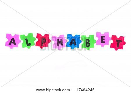 foam letters spelling the word alphabet