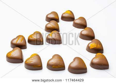 Milk chocolates heart from side