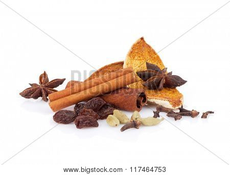 Mulled wine spice ingredients. Isolated on white background