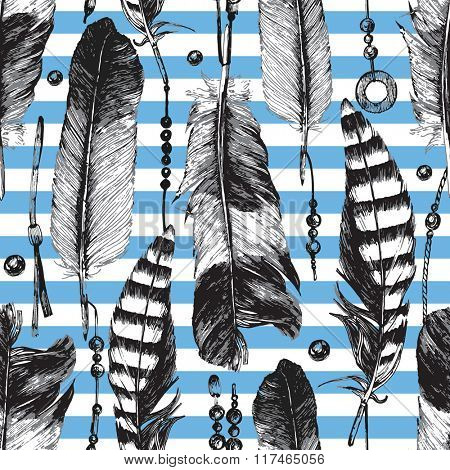 Stripped seamless pattern with hand drawn feathers