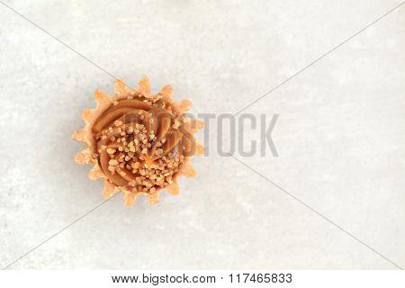 Sweet food. Condensed milk dessert on the table