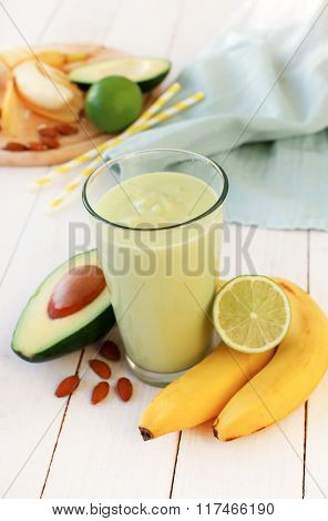 Delicious smoothie made out of avocado and banana