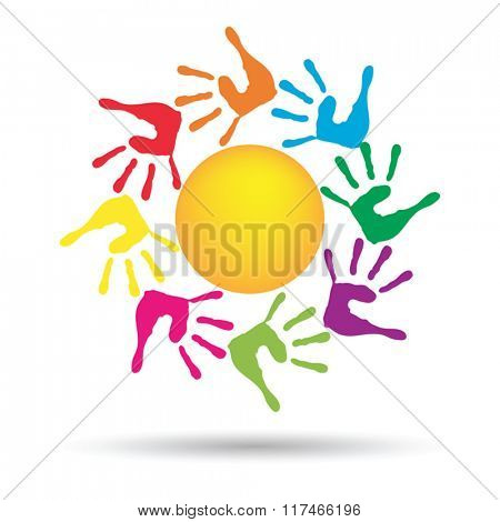 Vector concept conceptual yellow happy abstract sun with children hand print spiral or circle isolated on white background
