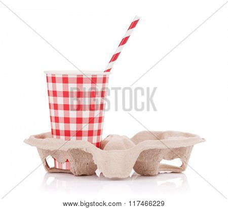 Paper cup with takeaway drink in holder. Isolated on white background