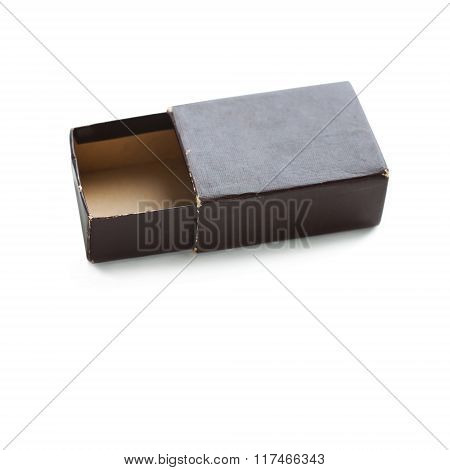 Old paper box. opened, brown color empty container. soft focus. copy space, macro view