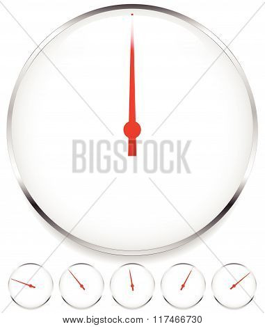 Blank Dial, Gauge Elements In Sequence With Red Needle