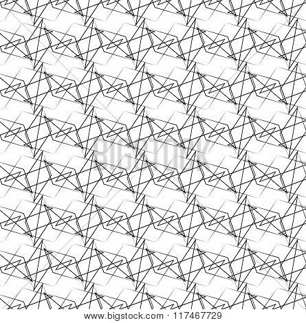 Geometric Abstract Monochrome Pattern With Edgy Intersecting Lines