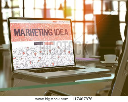 Laptop Screen with Marketing Idea Concept.
