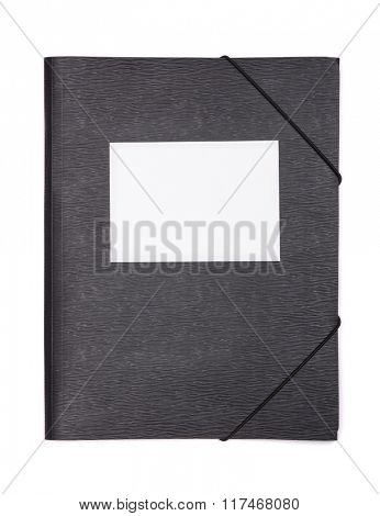 Black plastic document folder with blank label isolated on white