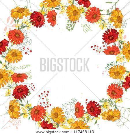 Square frame with contour asters, gerberas and herbs on white. Floral pattern for your summer design, floral greeting cards, posters.