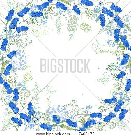 Square frame with contour muscari and herbs on white. Pattern with flowers for your spring design, floral greeting cards, posters.