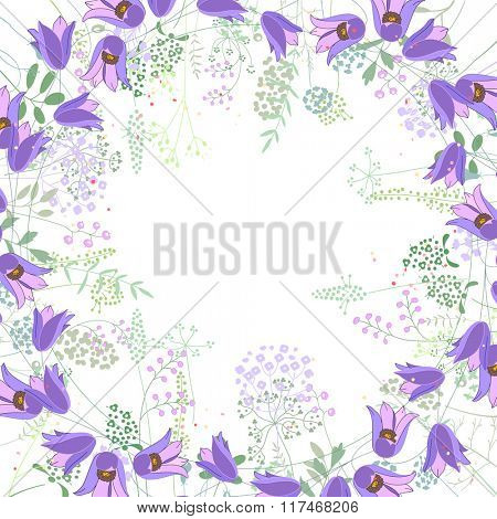 Square frame with contour bluebells and herbs on white. Pattern with flowers for your summer design, floral greeting cards, posters.
