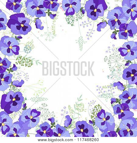 Square frame with contour viola and herbs on white. Pattern with flowers for your summer design, floral greeting cards, posters.