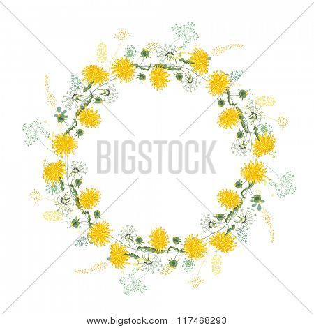Round frame with contour dandelions and herbs on white. Pattern with flowers for your summer design, floral greeting cards, posters.